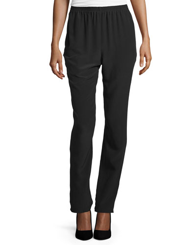 Slim-Leg Silk Trousers, Black