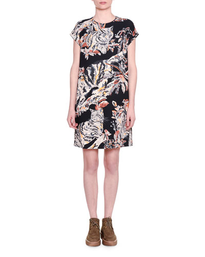 Cap-Sleeve Cat-Print Shift Dress, Black
