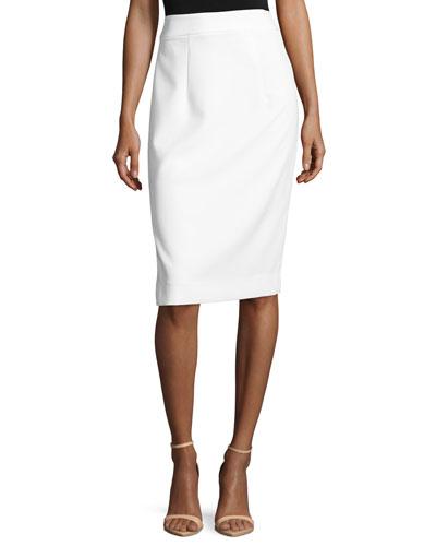 Italian Cady Pencil Skirt, White