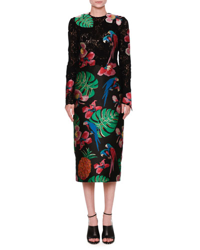 Lace & Brocade Long-Sleeve Dress, Black/Multi