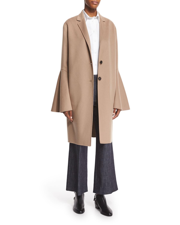 Wool-Blend Bell-Sleeve Coat, Camel