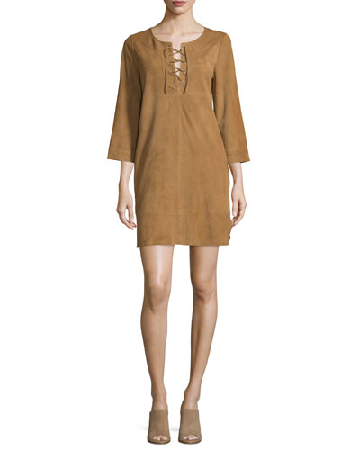 Camarillo Suede Lace-Up Shift Dress