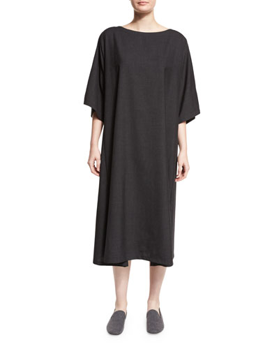 Boat-Neck T-Shirt Dress, Charcoal