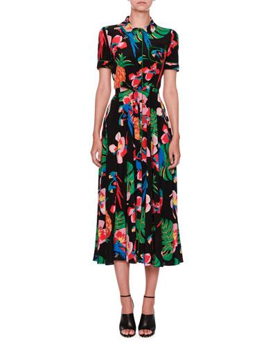 Tropical Dream Short-Sleeve Midi Shirtdress, Multicolor