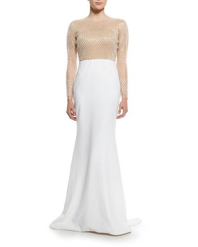Grid-Beaded Mermaid Gown, Nude/White