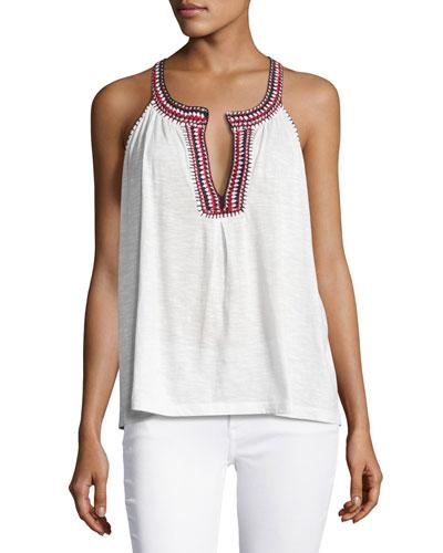 Yvanna Embroidered Sleeveless Cotton Top, White