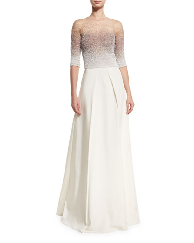 Ombre Sequined Half-Sleeve Ball Gown, Iris/White