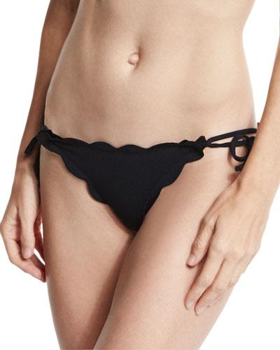 Mott Tie-Side Scalloped Swim Bikini Bottom