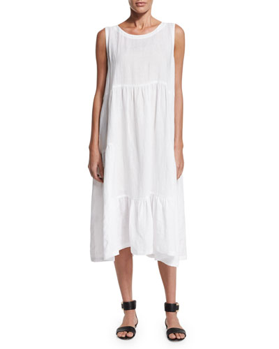Sleeveless Tiered Linen A-Line Dress, White