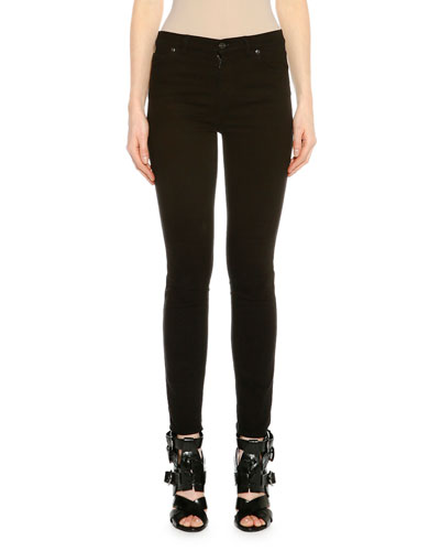 Raw Denim Skinny Jeans W/Lace-Up Back, Black