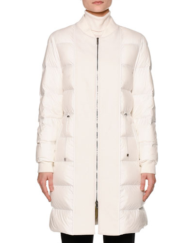 Zip-Front Puffy Bomber Coat, Warm White