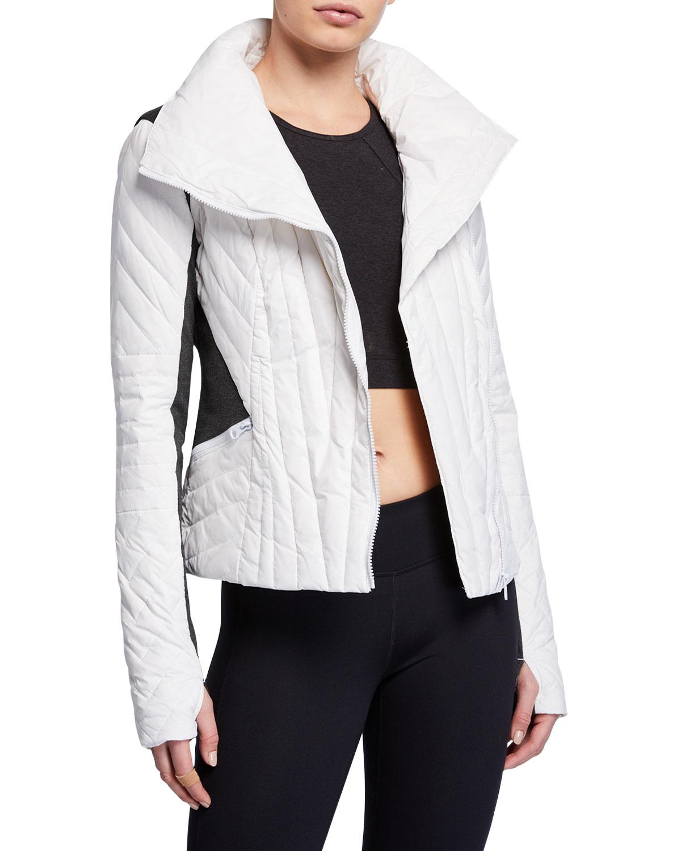 Blanc Noir Motion Paneled Puffer Jacket Heather, WHITE/GRAY