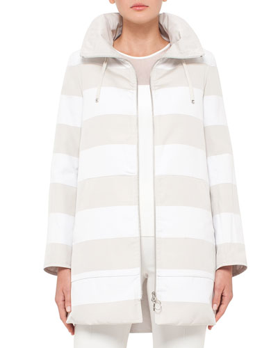 Reversible Striped Parka Jacket