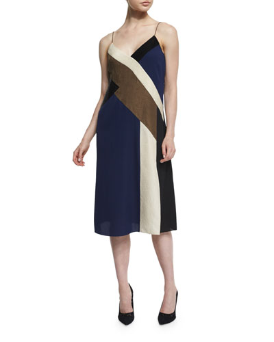 Frederica Colorblock Silk Slip Dress