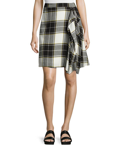 Gina Draped Plaid A-Line Skirt, Yellow/White/Gray