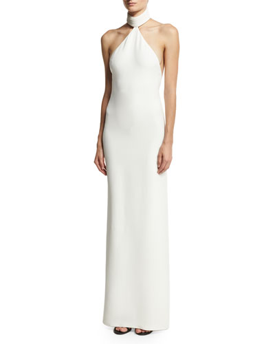 Sleeveless Piped-Neck Halter Gown, Ivory
