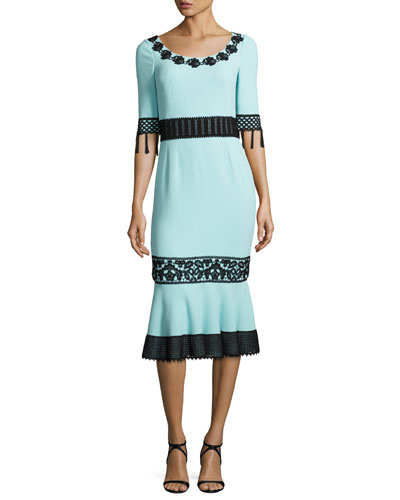 Crochet-Trim Crepe Tassel Dress, Light Blue/Black