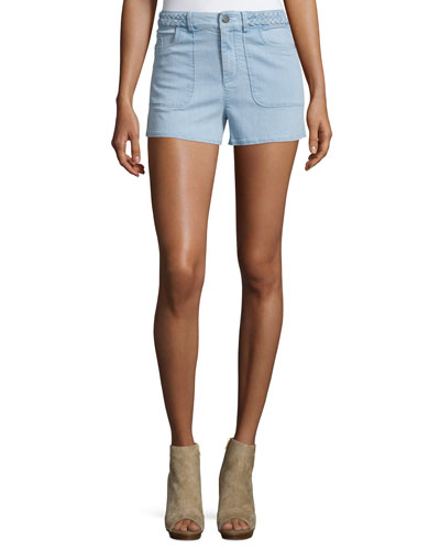 Carson Braided-Waist Chambray Shorts, Light Blue