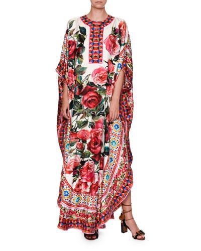 Maiolica-Print Silk Caftan