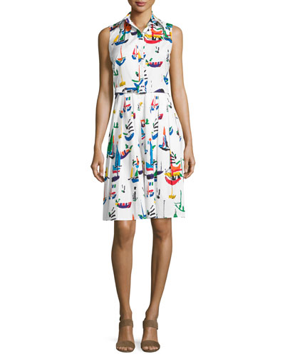 Audrey Sailboat-Print Sleeveless Shirtdress, White