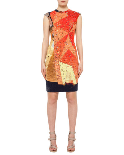 Rock Climbing Wall Printed Cap-Sleeve Dress, Rust/Navy