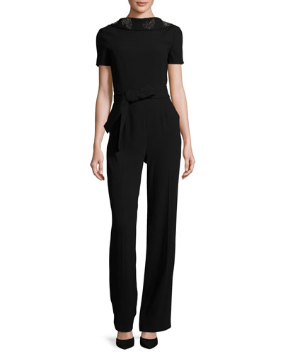 Eve Draped-Back Short-Sleeve Jumpsuit, Black