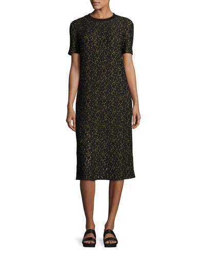 Ray Short-Sleeve Lace Midi Dress, Black/Yellow