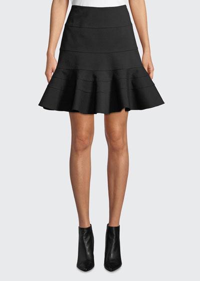 Flippy Seamed-Jersey Skirt