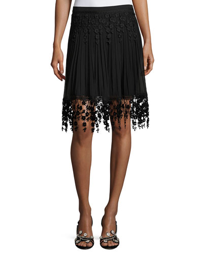 Brielle Pleated Chiffon & Floral-Lace Skirt, Black