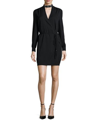 Embellished Neck Tie-Waist Dress, Black