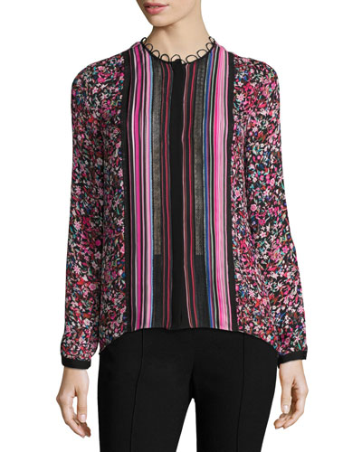Buffy Long-Sleeve Striped & Floral-Print Silk Blouse, Multi