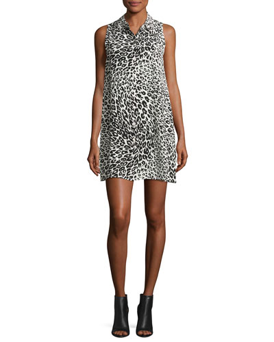Mina Sleeveless Cheetah-Print Silk Shirtdress, Nature White/True Black