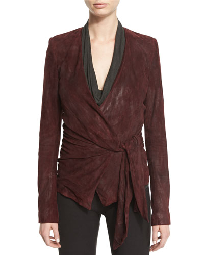 Suede Wrap-Front Jacket