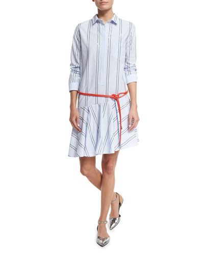 Micro-Paillette Striped Shirtdress, Light Blue