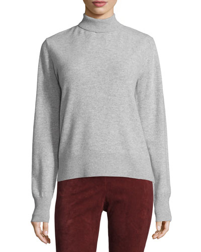 Wool Ribbed-Trim Turtleneck Sweater, Marble