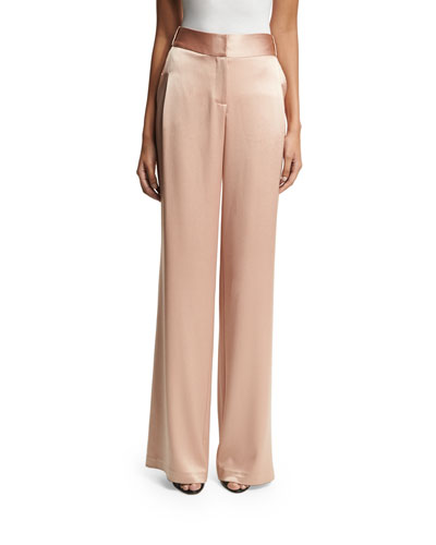 Flowy Wide-Leg Satin Pants, Light Beige