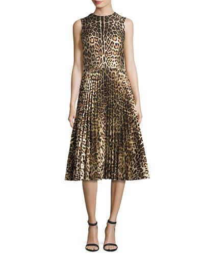 Sleeveless Leopard-Print Pleated Dress, Nero