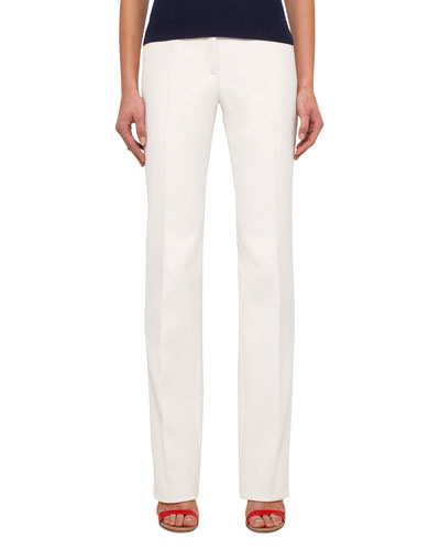 Straight-Leg Cotton-Silk Denim Pants, Anemone