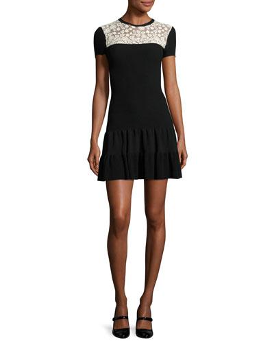 Short-Sleeve Lace-Yoke Fit-&-Flare Dress, Nero/Ecru