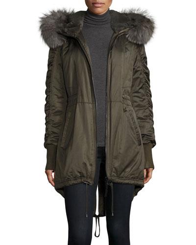 Fur-Trimmed Hooded High-Low Hem Parka, Loden
