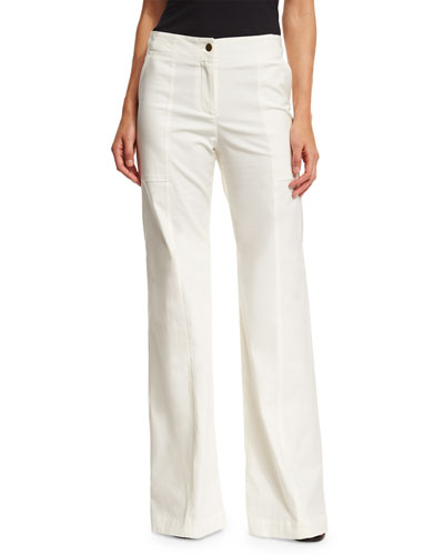 Wanderlust Wide-Leg Stretch Pants, White