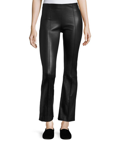 Beca Seamed Leather Pants, Black