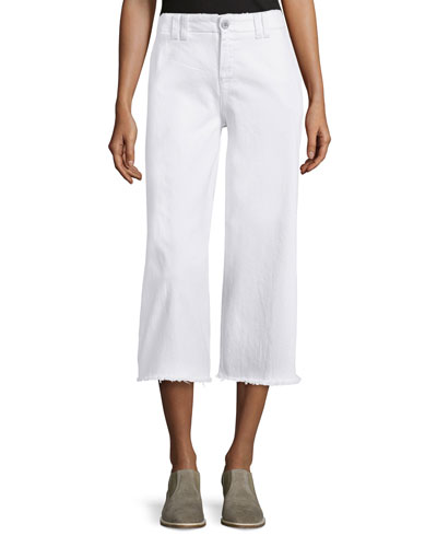 The Cropped Hampden Trousers, Sugar W/Raw Hem
