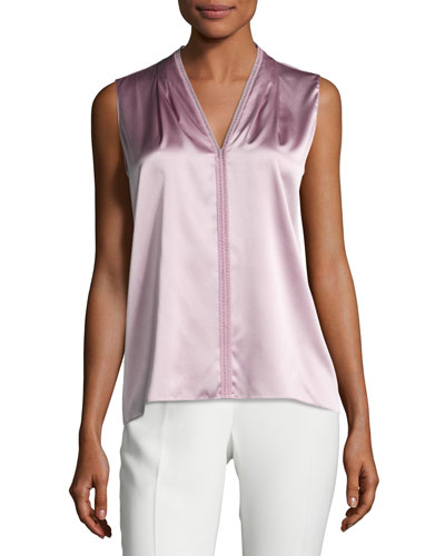 Joelle Sleeveless Stretch-Silk Blouse, Winter Rose