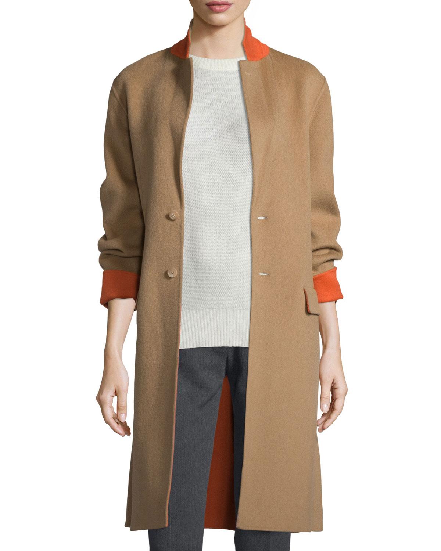 Double-Face Wool-Blend Coat, Camel/Tangerine