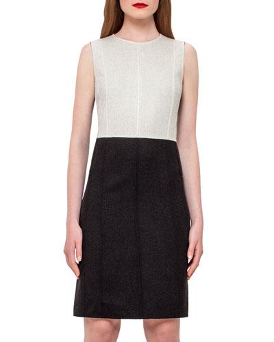 Reversible Double-Face Wool Sheath Dress