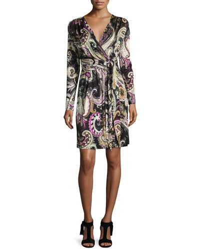 Long-Sleeve Paisley Wrap Dress, Black