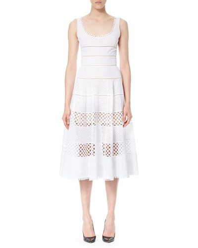 Sleeveless Eyelet A-Line Midi Dress, White