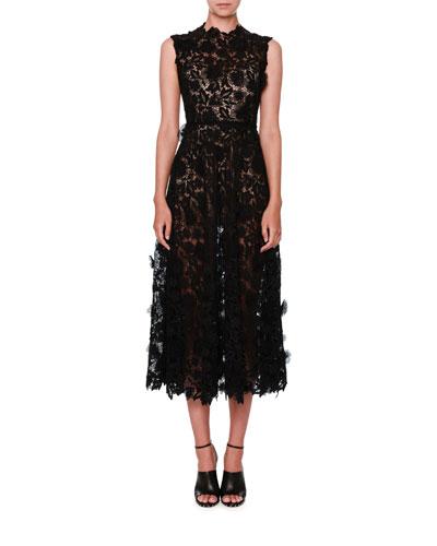 Sleeveless 3D Lace Midi Dress, Black