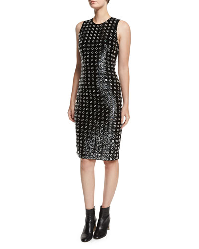 Sequined Grommet Sheath Dress, Black
